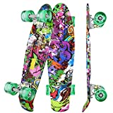 WeSkate Mini Cruiser Skateboard tabla completa retro tabla de skate vintage con borde de plástico Cruiser tabla con PU rueda flash rodamientos ABEC-7 para adultos niños...