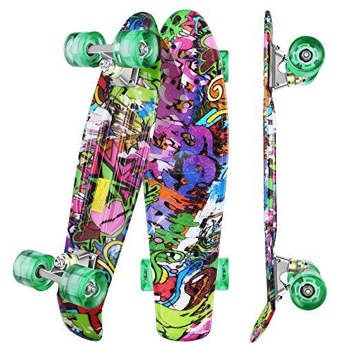 """WeSkate Kinder Retro Skateboard 22\"""" 55cm Mini Cruiser ABEC-9 Kugellager mit PU LED Leuchtrollen für Erwachsene Kinder Jungen Mädchen"""