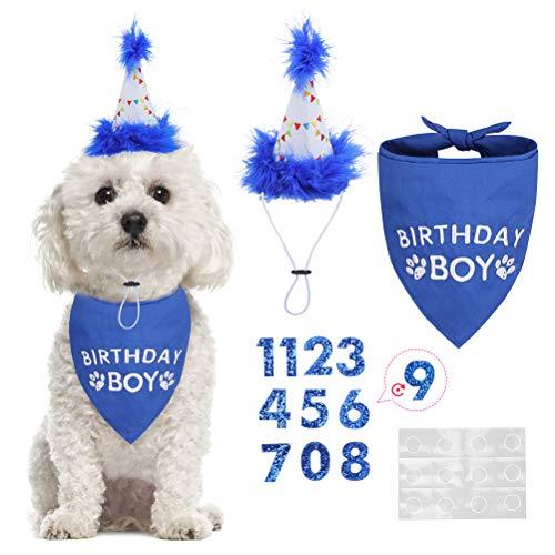 Dog Birthday Bandana Boy Scarf and Reusable Dog Birthday Hat with 0-8 Figures