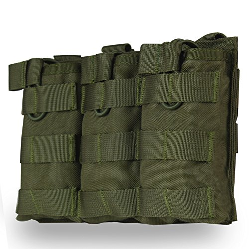 Tactical MOLLE - Bolsa para revistas (triple apertura abierta, para airsoft, 1000D, nailon