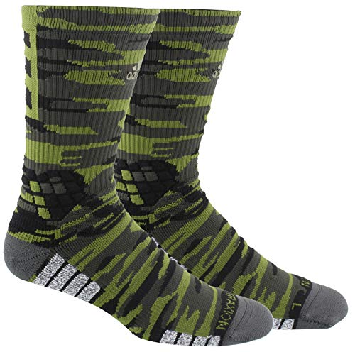 adidas Unisex-Erwachsene Creator 365 Basketball Crew Socks (1-Pack) Tech Olive/Legend Earth Green/Black, Medium (Shoe Size 6.5-9)