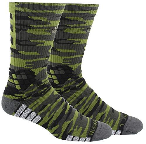 adidas Unisex-Erwachsene Creator 365 Basketball Crew Socks (1-Pack) Tech Olive/Legend Earth Green/Black, Medium (Shoe Size 6.5-9)