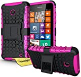 Nokia Lumia 630 635 Funda, FoneExpert® Heavy Duty silicona híbrida con soporte Cáscara de Cubierta Protectora de Doble Capa Funda Caso para Nokia Lumia 630 635 + Protector Pantalla (Rosa)