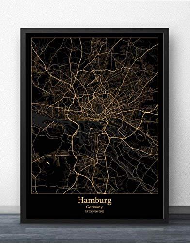 ZWXDMY Leinwand Bild,Deutschland Hamburg Stadtplan Drucken Schwarz Und Weiß Einfach Text Canvas Poster Malerei Wandbild Rahmenlose Wohnzimmer Coffee Shop Home Dekoration, 70 X 100 cm