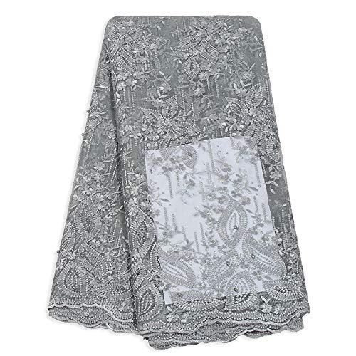 Cordones de Tul francés para Mujeres nigerianas Vestido de Fiesta, Bordado Africano Cordones Tela 5 Yardas, Fibra sintética, Gris, 5YARDS