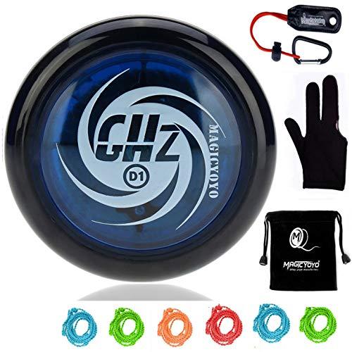 Magic Yoyos for Kids, MAGICYOYO D1 GHZ Plastic Loop 2A Yoyo Ball with 6 Strings, Glove, Yoyo Holder and Yoyo Pouch Kids -Blue