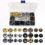 120 Sets Kit de Broches de Cuero, Botones de Presión de Cobr con 4 Herramientas de Fijación, Kit de Cierres a Presión para Chaquetas, Billeteras, Bolsos de Cuero (6 Colores De Metal)