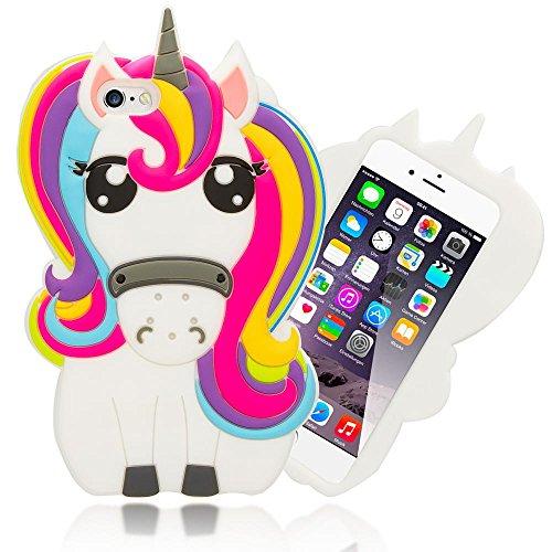 NALIA 3D Custodia compatibile con iPhone 6S 6, Cover Protezione Ultra-Slim Cartoon Case Protettiva Morbido Cellulare in Silicone Gel, Gomma Telefono Bumper Sottile, Designs:Unicorn