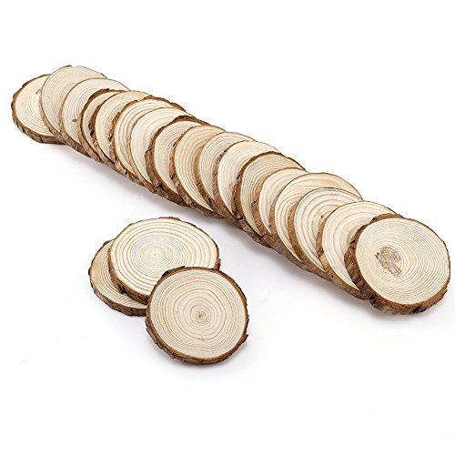 ToBeIT 20 Stücke Holzscheiben ca.7-8cm Holz Scheiben rund- Naturholzscheiben Baumscheiben Verzierung DIY Handwerk Hochzeit Deko (7-8cm)