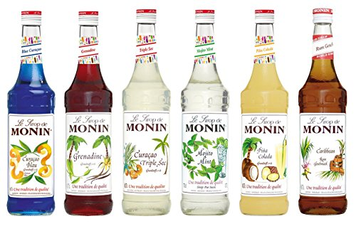 Monin Cocktail Set (6 x 0.7l Flaschen: Curacao Blue, Curacao Triple Sec, Grenadine, Mojito Mint, Pina Colada, Rum