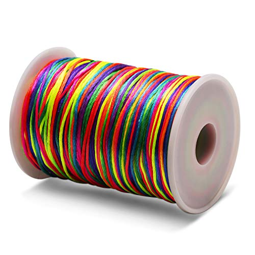 AIEX 1mm Beading Cord String for Jewelry Bracelet Making and Crafts (Rainbow Color, 200 m)
