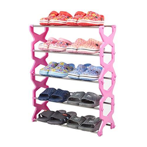 ZZYE Zapatero Estructuras de Zapatos 4 Niveles Almacenamiento de Acero Inoxidable Muebles de Muebles Organizador de Zapatos Estantes (Rosa) 56 * 20 * 67cm Perchero Zapatero
