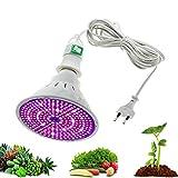 Miwaimao Leds Plant Lamp, E27 Bombillas LED para Crecimiento de Plantas Full Spectrum Grow Bulb con 4M 8M Interruptor de Alambre para Plantas de Interior, 290Leds, 8M Set