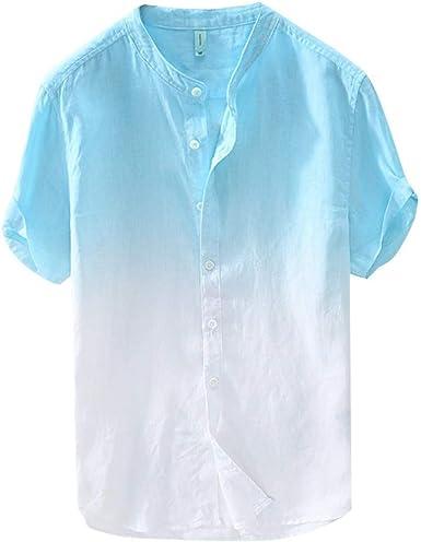 ZODOF Camisa de Hombre Cuello Fresco y Fino Transpirable para ...
