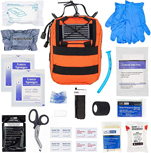 LINE2design Complete Survival Kit - EMS EMT Emergency Response Fully Stocked Tactical Molle Bag - Advanced First Aid Medical Supplies - Heavy Duty Outdoor Gear EDC IFAK Pouch Stop Bleeding Kit Orange