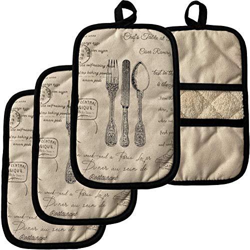 ZORR Topflappen mit Tasche aus Baumwolle 4er Set, Topfhandschuhe Hitzebeständige Topfuntersetzer (4er Kleine Topflappen)