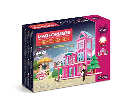 Magformers Sweet House 64 Pieces Pink and Purple Colors, Educational Magnetic Geometric Shapes Tiles Building STEM Toy Set Ages 3+