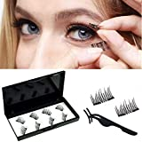 8pcs No Glue Dual Magnetic Eyelashes 0.2mm Ultra Thin Magnet Lightweight & Easy to Wear Best 3D Reusable Lashes Extensions (BLACK)