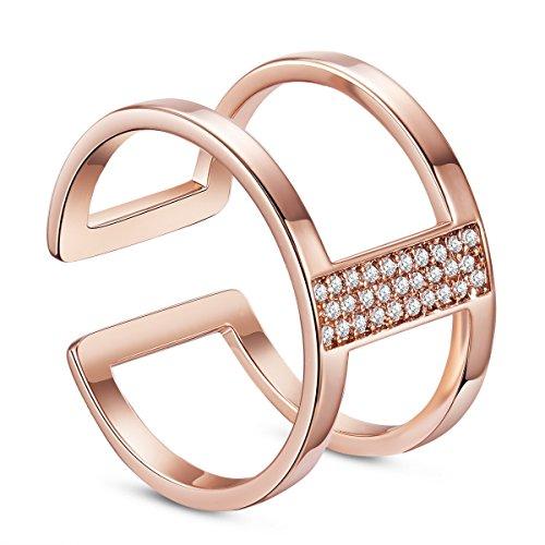 Sweetiee - Anillo de plata de ley 925 chapado en oro de 18 quilates, doble banda con micro pavé AAA, circonita para mujer, joyería de oro rosa (17 mm) tamaño O