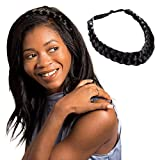 Madison Braids Womens Braided Headband Hair Braid Natural Looking Synthetic Hair Piece Extension - Lulu Two Strand - Black