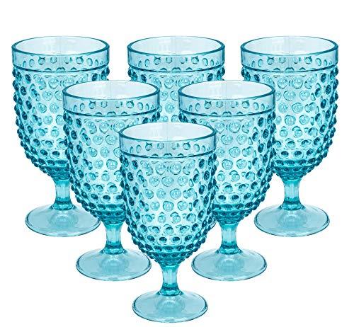 15-ounce Barrel Hobanail Acrylic Wine Glasses-Plastic Stem Wine Glasses  All Purpose,set of 6-Aqua Dishwasher SafeBPA Free