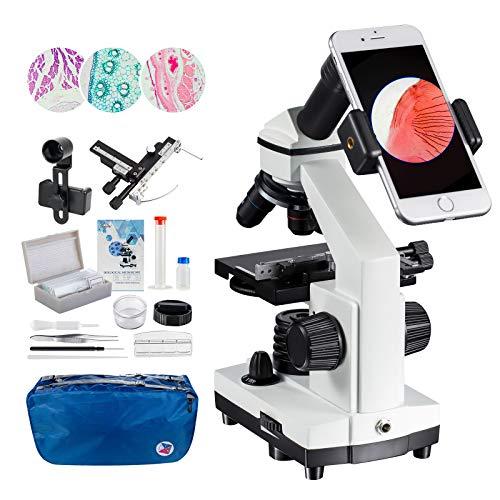MAXLAPTER 2000x Mikroskopen Bewegliches Lineal Mikroskopen Labor LED mit vorbereiteten und leeren Objektträgern Mikroskop Objektiv Adapter Zubehör