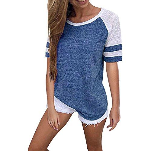 TWIFER Sommer Damen Sport Kurzarm T Shirt Splice Bluse Tops Kleidung Tee Shirt