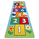 "HIGHTAO Hop & Count Hopscotch Rug Soft Carpet Children Floor Playing Crawling Game Rectangle Mat Home Decortion Floor Rug Great for 3, 4, 5, 6, and 7 Year Olds, 26"" x 78"""