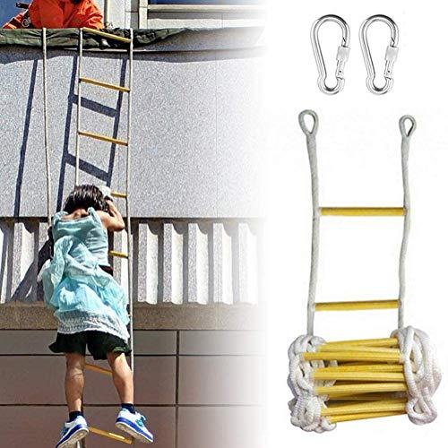 DGSD Flucht Seil Holz Nylon Strickleiter mit Zwei Schnallen Fluchtwegleiter für Kinder und Erwachsene aus Fenstern und Balkonen,3m