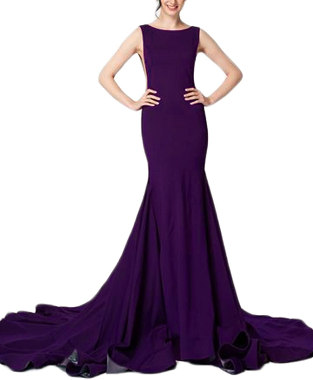 Alilith.Z Women's Sexy Backless Long Mermaid Prom Dresses Formal Evening Dresses Party Gowns with Train 2018 New