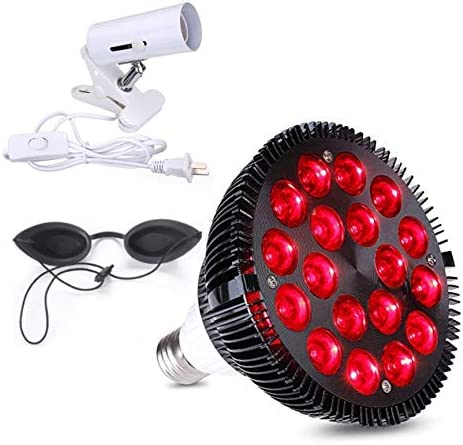Red Light Therapy Lamp with goggles and light Socket 54W 18 LED Infrared Light Therapy Device product image