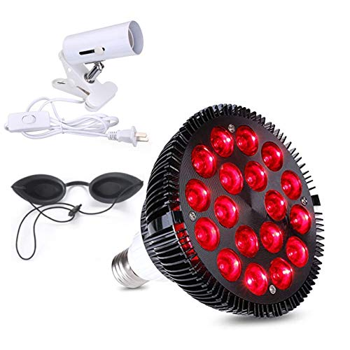 Red Light Therapy Lamp with goggles and light Socket 54W 18 LED Infrared Light Therapy Device, 660nm Red light and 850nm Near Infrared Red Light Bulb for Skin Pain Relief Blood Circulation Improvement