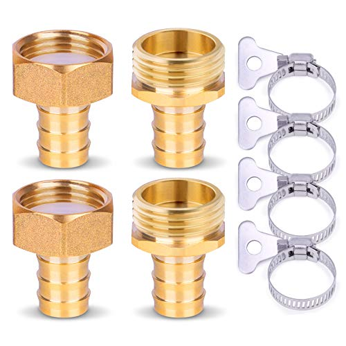 HOMENOTE Hose Connectors,5/8' Solid Brass Garden Hose Repair Kit, 2 Sets Swivelable Female and Male Hose Connectors & Fitting with Stainless Steel Clamp and Teflon Tape