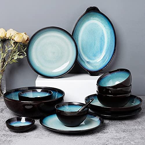 Platos de cerámica Conjunto Retro de 6 personas Horno de alimentación de 6 personas Esmaltado Platos simples y personalizados y combinación de placa conjuntos de vajilla de 28 piezas