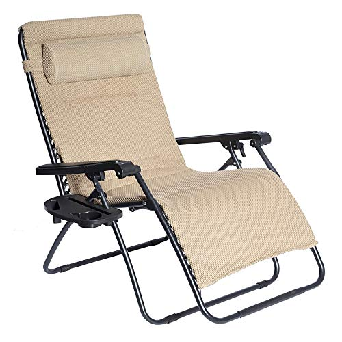 LUCKYBERRY Oversize XL Padded Zero Gravity Mesh Lounge Chair Beige Wider Armrest Adjustable Recliner with Cup Holder, Support 350 LBS