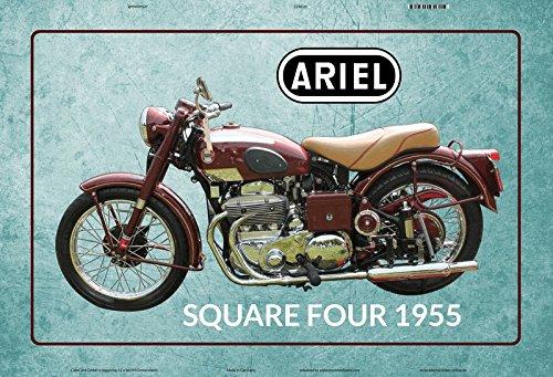 Deco 7 metalen bord 30 x 20 cm - Motorfiets Ariel Square Four 1955