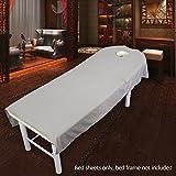 Beauty-Bettlaken, hochwertiger Stoff, schöne einfarbige Farbe, weich, angenehme Textur, Salon-Laken für Massage-Behandlungen, mit Loch 80x190cm grau