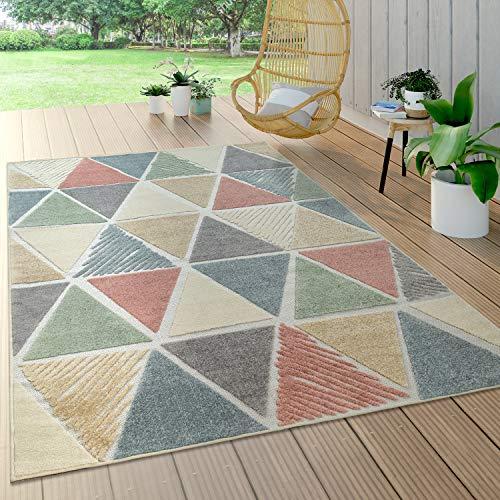 Paco Home In- & Outdoor Teppich, Terrasse u. Balkon, Wetterfest Modern Geometrische Muster, Grösse:160x230 cm, Farbe:Mehrfarbig