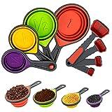 KOTONAMI Juego de 8 tazas medidoras de silicona plegables, coloridas cucharas medidoras para cocina, hornear, perros, gatos y pájaros, líquidos y sólidos