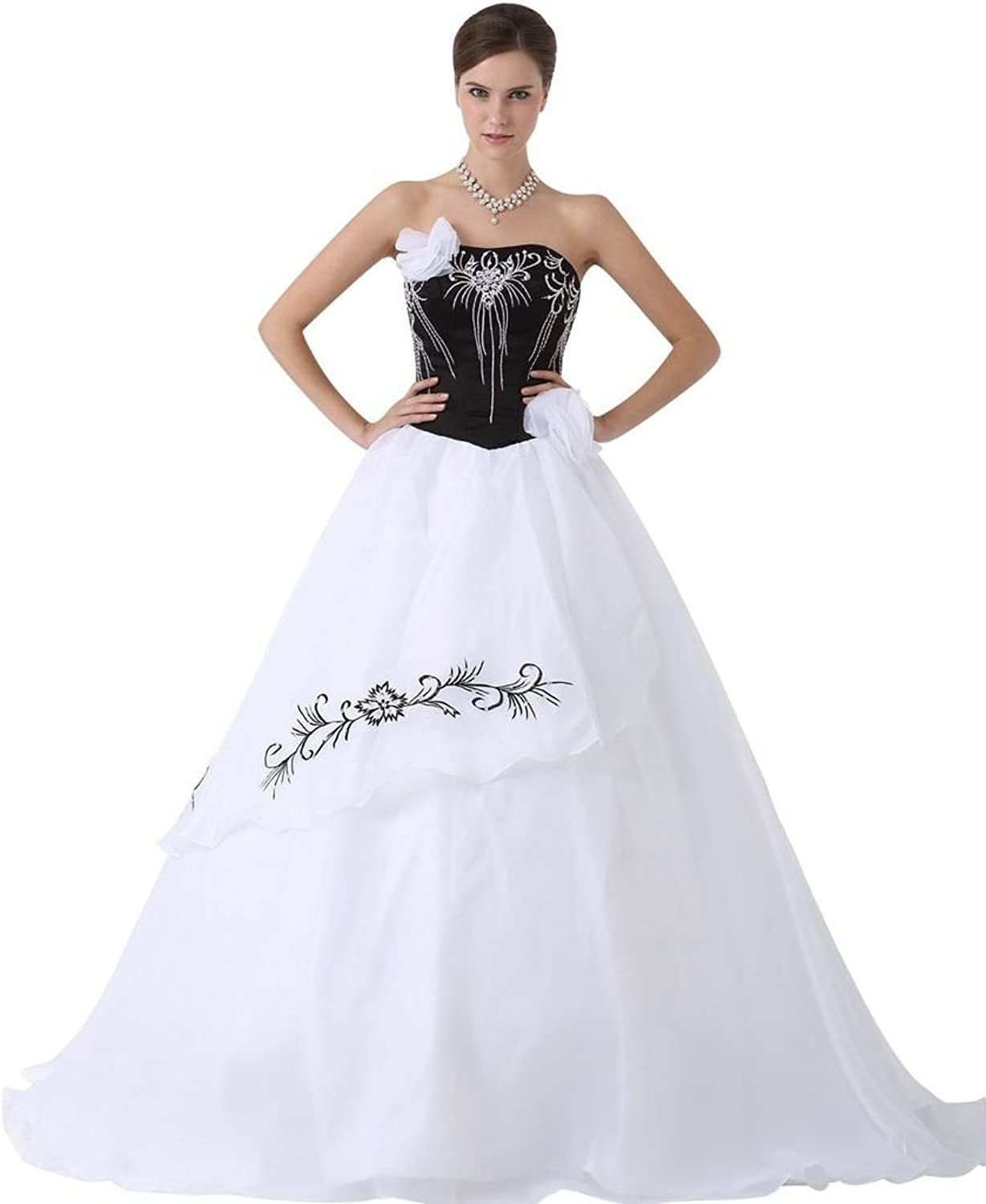 pinkFASHION Women's Embroidery prom Ball Gown dress White US 16