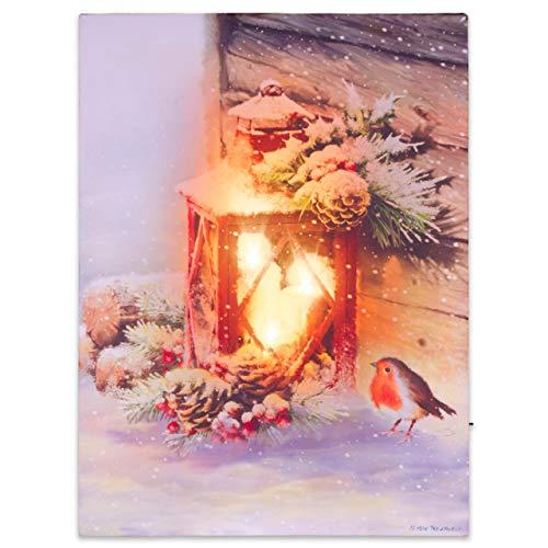 Nexos LED Wandbild Leinwandbild Beleuchtung 30x40cm rote Laterne Fotodruck Kunstdruck Leuchtbild Weihnachten Batterie Winteridylle Effekt-LED Rotkehlchen