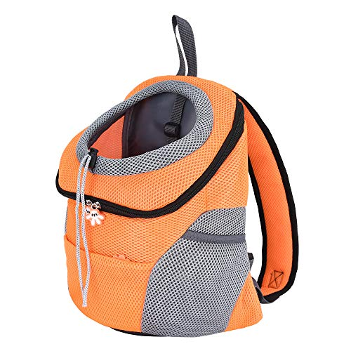 Mile High Life | Hiking Outdoor Pet Carrier Backpack | Kitty Puppy Cat Carrier | Dog Carrier for Small Dogs | Dog Backpack w Breathable Mesh with Soft Padding(Orange, Medium)