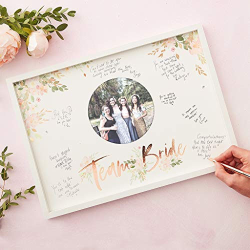 Ginger Ray Rose Gold Foiled Team Bride Hen Party Gästebuch mit Rahmen, Blumenmuster