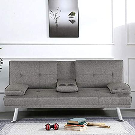 Storeinuk Linen Fabric Sofa Bed Recliner 3-Seater Grey with Removable Arm Pads Click Clack Mechanism