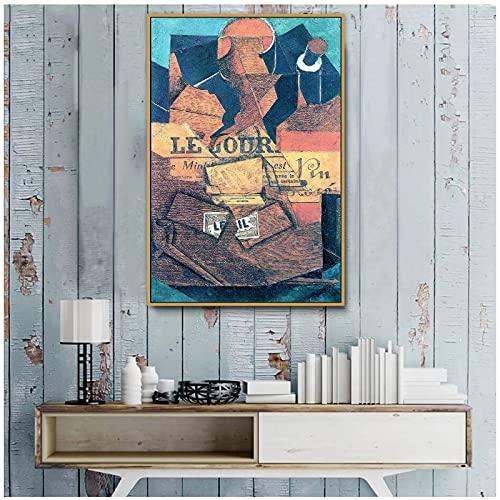 zkpzk Juan Gris Old Famous Master Artist Tabaco Periódico Y Botella De Vino Impresión De Pintura En Lienzo para La Decoración De La Pared De La Habitación Arte De La Pared-50X70Cmx1 Sin Marco