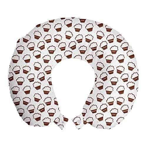 ABAKUHAUS Postre Cojín de Viaje para Soporte de Cuello, Cupcakes de Vainilla, de Espuma con Memoria Respirable y Cómoda, 30x30 cm, Rojo marrón Blanca