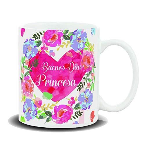 REGALOS LLUNA Taza con Mensaje Buenos DÍAS Princesa Heart/Flowers
