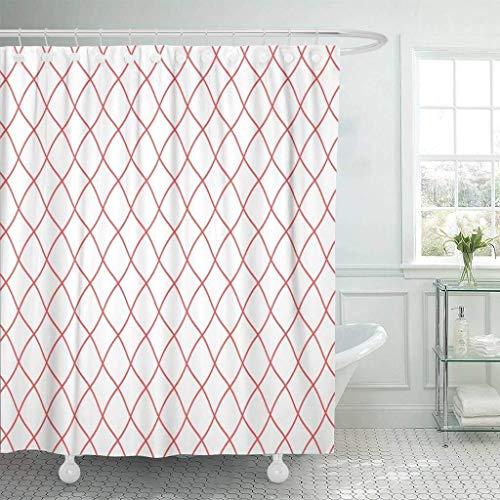 SMNHSRXH Douchegordijn met haken Visnet patroon van Pôdoir-regelmatig netweefsel Kleur Rood Visnet zeeftouw Badkamerdecoratie Anti-schimmel