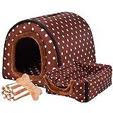 Haustierbett, Großer Hund Hundehütte Winter Warm halten Waschbar Innen Luxus Hundehütte Vier Jahreszeiten Hundehöhle Iglu,B,M47*35 * 33cm