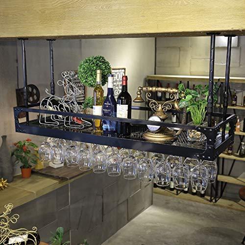 Mensole da Parete- Calice Portabottiglie Scaffale da Vino Scaffale da Bar per Bar Salotto Retro Espositore da Parete a soppalco (80X35CM, Black)
